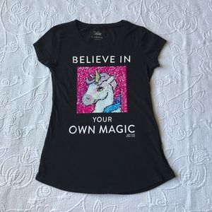 Girls Justice top Sz 8 Sequence unicorn